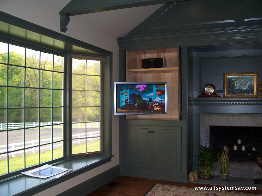 tv installed in a cabinet