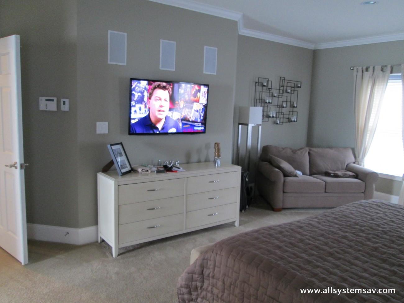 tv over white oak credenza