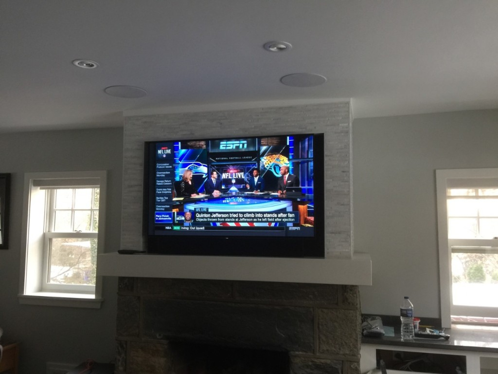 LED TV Installation Over Fireplace with Speakers